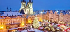 Christmas in Prague - Old Town Square with Christmas markets! :-) National Geographic says Prague is one of the top winter destinations! Christmas Holiday Destinations, Best European Christmas Markets, Prague Christmas Market, Christmas Markets Europe, Holiday Market, Christmas Travel, Winter Destinations, Christmas 2017, Vacation Destinations