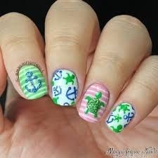 Turtle and anchor nail design