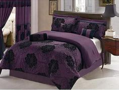 Grand Linen 7 Pc Modern Black Purple Floral Comforter Set/Bed in a Bag - King Size Bedding Purple Bedding Sets, Black Bedding, Floral Comforter, Comforter Sets, Bedroom Sets, Bedroom Decor, Master Bedroom, Retro Bed, Bed In A Bag