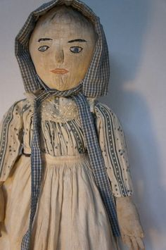 "24"" cloth doll embroidered face, raised nose. great hands 19th C"