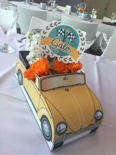 Ideas Vintage Cars Party Centerpieces For 2019 Vintage Car Party, Vintage Cars, Car Centerpieces, Christmas Car Decorations, Carros Vintage, Car Table, Cute Car Accessories, Cars Birthday Parties, Car Birthday