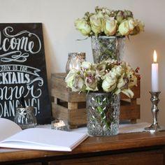"""Grandmas Vase"" Pressed Glass Wedding Centrepiece - available from @theweddingomd"