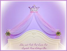 Pink Princess Tutu Bed Crown Canopy Set by sweetlilboutique, $75.00