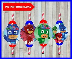 80% OFF SALE Printable Pj masks Straw Tags instant download