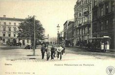 Tramwaje konne (berittene Straßenbahnen), Wrocław - 1898 rok, stare zdjęcia pl. czerwony