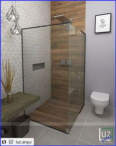 Banheiro tons claros com porcelanato madeira. Really love the clean lines but touch of warmth that the wood adds Bathroom Tile Designs, Bathroom Design Luxury, Bathroom Layout, Modern Bathroom Design, Tile Layout, Bath Design, Wooden Bathroom, Small Bathroom, Bathroom Mirrors