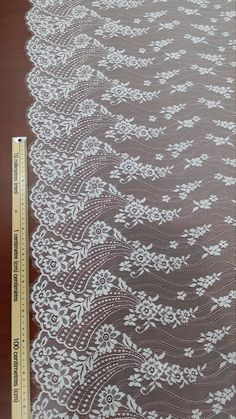 Ivory lace fabric by the yard. Border Embroidery Designs, Bead Embroidery Patterns, Beaded Embroidery, Hand Embroidery, Crochet Quilt, Crochet Stitches, Embroidered Lace Fabric, Lace Tattoo, Linens And Lace