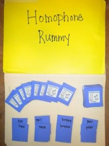 Homophones Card Game: Homophone Rummy allows for students to match pairs of homophones in their hand by drawing from the deck. Each player starts out with seven cards and may draw from the deck or discard pile. If they draw from the discard pile, they must pick up the entire pile and use the top card to make a pair. The player who gets the most matches at the end of the game is the winner.