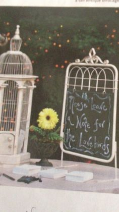 Leave the love birds a note guest book idea