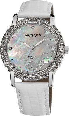 Akribos Diamond Mother of Pearl Dial Ladies Watch AK580SSW Akribos XXIV http://www.amazon.com/dp/B00BZWVARE/ref=cm_sw_r_pi_dp_3RE-tb02FQWNH