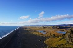 Black sand beach as seen from Dyrhólaey peninsula, Southern Iceland Black Sand, Sand Beach, Fire And Ice, Iceland, Southern, Mountains, Water, Backpack, Travel