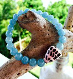 Blue Agate Gemstone Stretch Bracelet, Soft Blue Faceted Agate and Seashell Stretch Bracelet, Beach Bracelet with Shell & Semi-Precious Beads by KailuaKai on Etsy https://www.etsy.com/listing/253762716/blue-agate-gemstone-stretch-bracelet