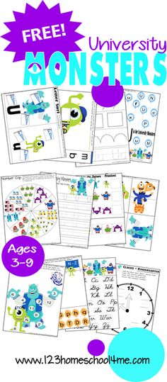 FREE University Monsters Worksheets (Toddler, Preschool, Kindergarten, 1st, and 2nd Grade)