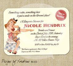 Cute Retro Vintage Lingerie Bridal Shower Invitation - Customizable Wordings - Print-your-own. $15.00, via Etsy.