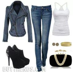 Jean and black heels outfit