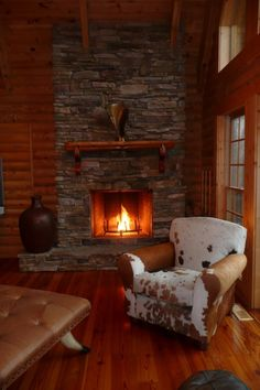 Love the stone for the fireplace