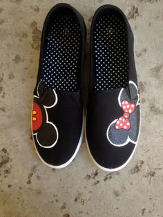 I want these so bad!  Mickey and Minnie Shoes by ColorfulCreations24 on Etsy, $30.00