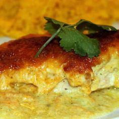 Cheesy Chicken in Poblano Sauce.