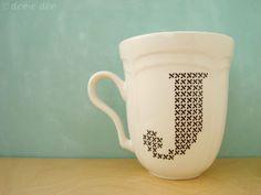 doe-c-doe: how I use porcelaine pens to cross stitch on a mug
