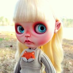 Little Pipa #blythe #blythedoll #blythedollcustom #repaint #faceup #carving #customdoll #nerdydoll #plushimi #bigears #dollwithbigears #weirddoll #quirky #fox