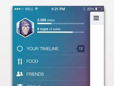 Dribbble - Side menu and status bar in iOS7 by Tina Tavčar