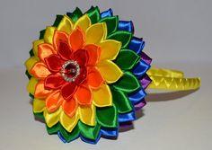 Diadema/Clip, Kanzashi, bautizo/boda/escuela de hecho a mano de la niña del arco iris