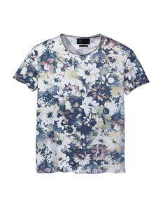 T-shirt col rond à manches courtes en coton slub