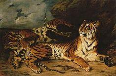 Eugène Delacroix - Joven padre jugando con su madre