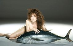 Helena Bonham Carter poses with giant tuna to campaign against over-fishing