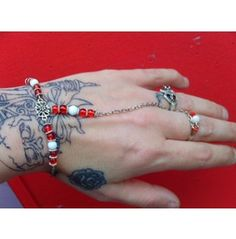Red White & Silver Chain Bracelet Ring Victorian Style  £4.00p.