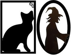 Halloween free printable Witch and black cat silhouette Halloween frei druckbare Hexe und schwarze Katze Silhouette Retro Halloween, Halloween Cat, Holidays Halloween, Happy Halloween, Halloween Decorations, Halloween Ideas, Halloween Images, Halloween Forum, Halloween Window