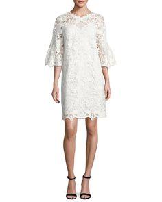 KOBI HALPERIN LILA BELL-SLEEVE LACE DRESS. #kobihalperin #cloth #