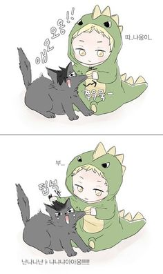 This is the awful part about kids: he's doing the meanest thing to this cat, yet still manages to exceed the realms of cuteness. Haikyuu Manga, Haikyuu Funny, Haikyuu Fanart, Anime Manga, Tsukishima Kei, Kuroo Tetsurou, Haikyuu Karasuno, Hinata, Cute Anime Chibi