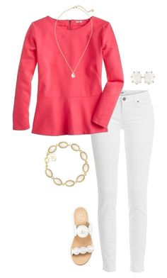 """""""cute outfit"""" by sassy-and-southern ❤ liked on Polyvore featuring Paige Denim, J.Crew, Jack Rogers and Kendra Scott"""