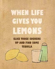 Lemons // Typographic Print Inspirational van LisaBarbero op Etsy, $18.00