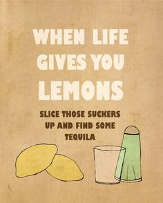 Lemons // Typographic Print, Inspirational, Encouraging, Funny Bar Signs, Kitchen Decor, Bar and Pub Art Poster