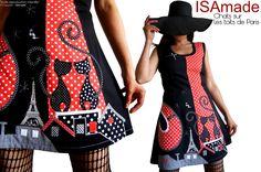 Des Chats sur les toits de Paris ... un style Rétro pour la robe Pois Noire et Rouge à patch !