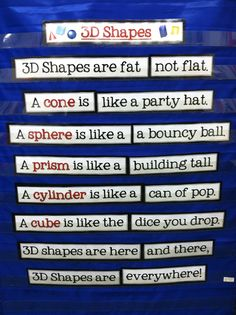 Shape Poem - if I teach elementary math again! Math Classroom, Kindergarten Math, Teaching Math, Teaching Ideas, Future Classroom, Classroom Ideas, Grade 1, 1st Grade Math, Second Grade