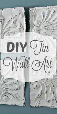Sometimes it can be a little bit tricky to find the perfect piece of art to fit a specific wall space in your home, or if you do find the perfect piece, it can be pretty darn expensive! If this is the case, than you might be better off to just DIY it! Fun Crafts, Diy And Crafts, Decor Crafts, Art Nouveau, Tin Walls, Décor Antique, Tin Ceiling Tiles, Diy Daybed, Farmhouse Wall Decor