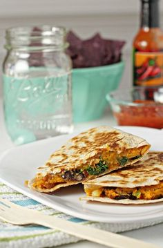 Sweet Potato, Black Bean and Kale Quesadillas - Cookie Monster Cooking, w/o cheese or you can use vegan cheeze