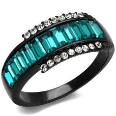 Black Stainless Steel Teal Crystal Ring – Just Fab Not Drab