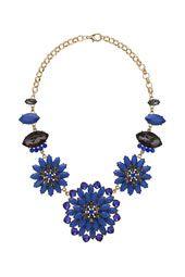 Triple Blue Flower Necklace