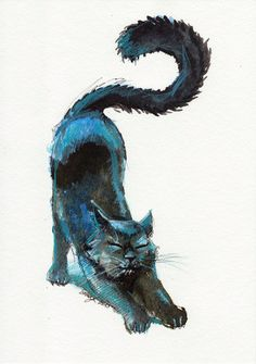 Original Ink and Pencil Drawing . Cute Black Blue Cat Stretching.