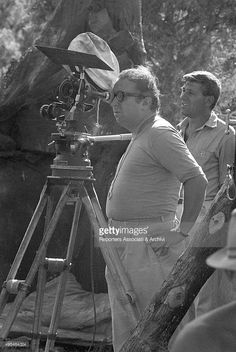 The director Sergio Leone shooting a scene on the set of the film The Good, the Bad and the Ugly. 1966