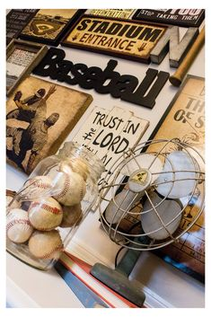 Vintage Baseball Nursery Design A vintage baseball themed nursery makeover complete with full baseball gallery wall. Baby Boy Rooms, Baby Boy Nurseries, Toddler Rooms, Baby Room, Toddler Bed, Vintage Baseball Nursery, Vintage Sports Decor, Baseball Bedroom Decor, Baseball Wall
