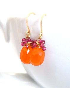 Orange Carnelian Earrings Hot Pink by JewelryBySonjaBlume on Etsy, $50.00