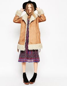 Image 4 of ASOS Coat in 70s Style Faux Shearling
