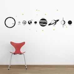 I want to do something like this but want to draw the planets in color, write facts about each planet on the backs, laminate them, and stick velcro on the back of them so they are wall art and educational at the same time