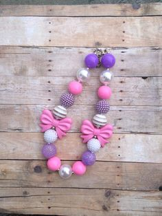 Light Pink, Purple and White Bubblegum Necklace - Photography Prop -  First Birthday Chunky Necklace - Bows - Princess - Cake smash on Etsy, $16.50