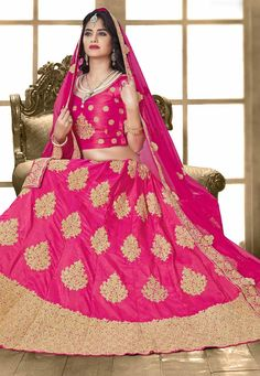 cea844a2d6b180 Delightful Pink Online Designer Lehenga Choli Work  -Appealing Pink based  with Golden Embroidered with resham